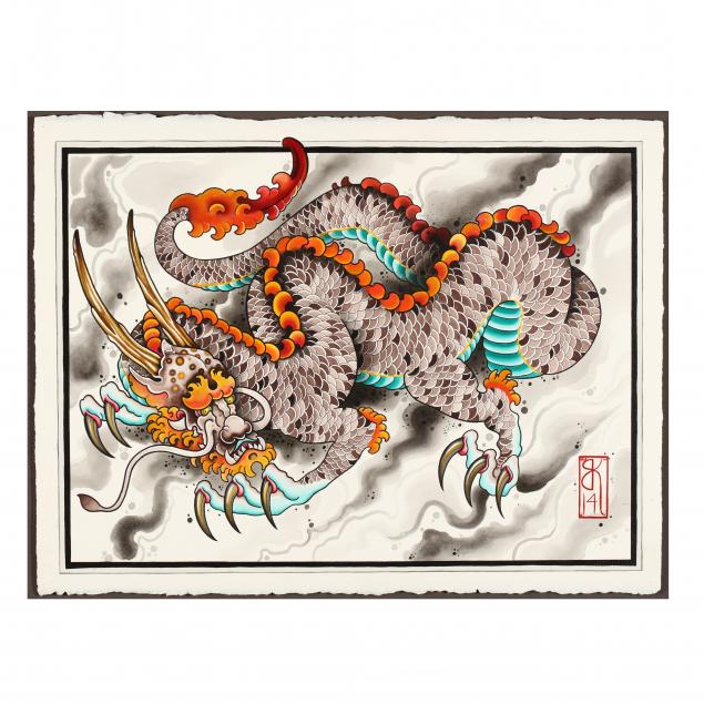 chinese-school-21st-century-painting-of-an-stylized-asian-dragon