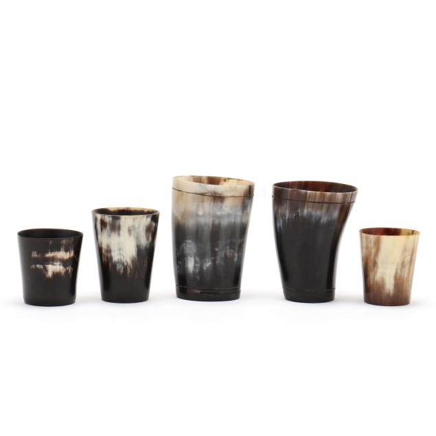 group-of-five-horn-drinking-cups