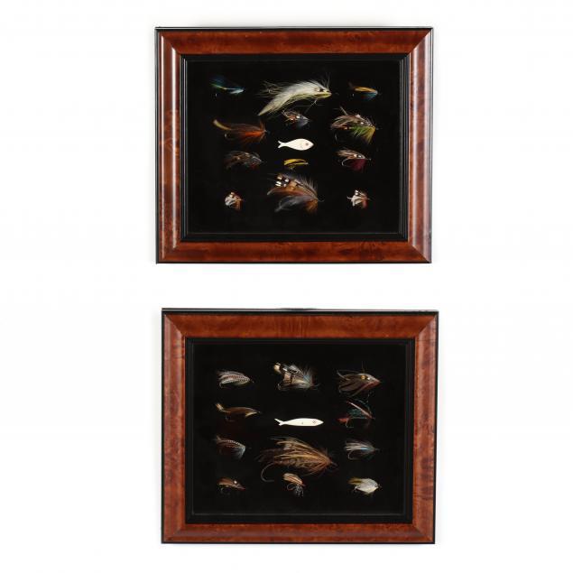 two-shadowbox-displays-of-assorted-fishing-flies