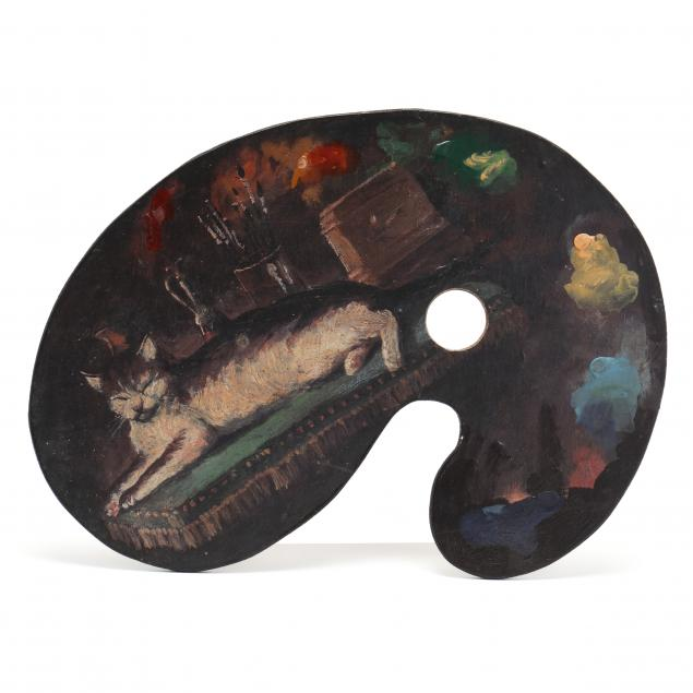 vintage-artist-palette-with-painting-of-a-recumbent-cat