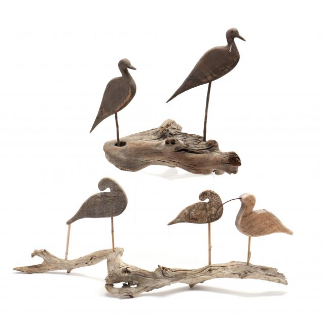 two-pieces-of-driftwood-mounted-with-five-shore-birds