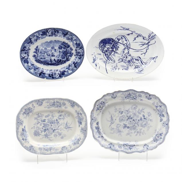 four-antique-china-blue-and-white-platters