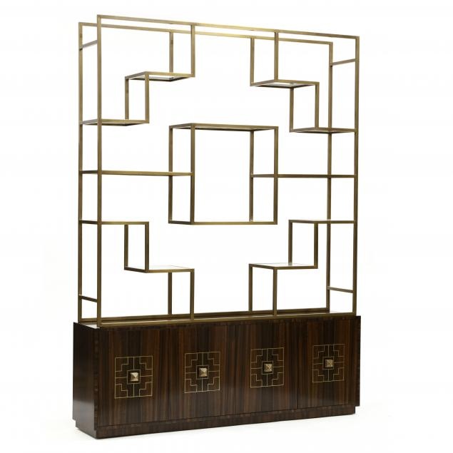 theodore-alexander-figured-walnut-and-brass-etagere
