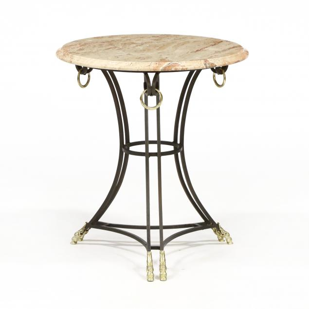 att-theodore-alexander-neoclassical-style-iron-and-marble-top-table