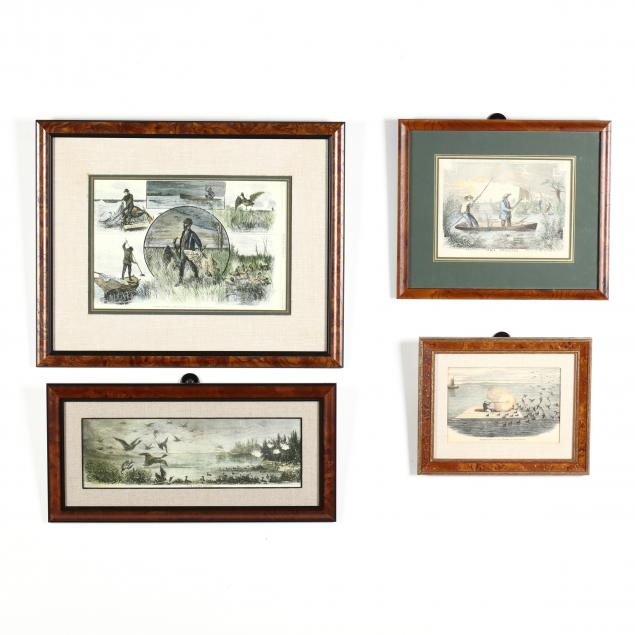 four-waterfowl-shooting-scenes-with-contemporary-hand-coloring