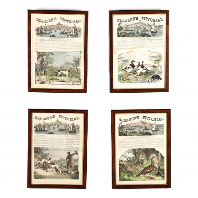 four-framed-front-pages-of-i-gleanson-s-pictorial-i-with-hunting-scenes