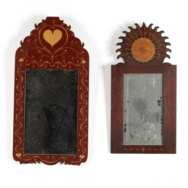 abe-cassidy-jr-nc-b-1942-two-folky-paint-decorated-mirrors