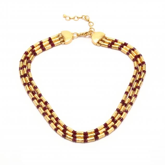 high-karat-gold-and-ruby-multi-strand-necklace-gurhan