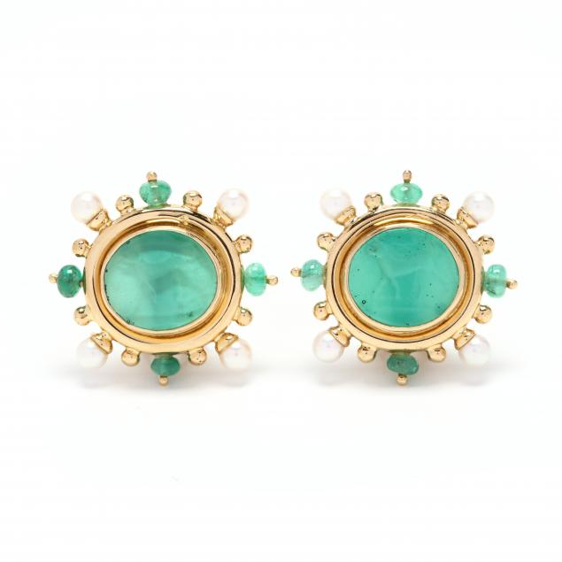 18kt-gold-and-gem-set-intaglio-earrings-elizabeth-locke