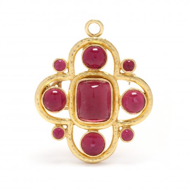19kt-gold-pink-tourmaline-and-mother-of-pearl-brooch-pendant-elizabeth-locke