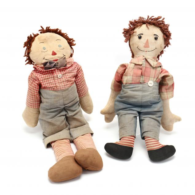 two-early-raggedy-andy-dolls