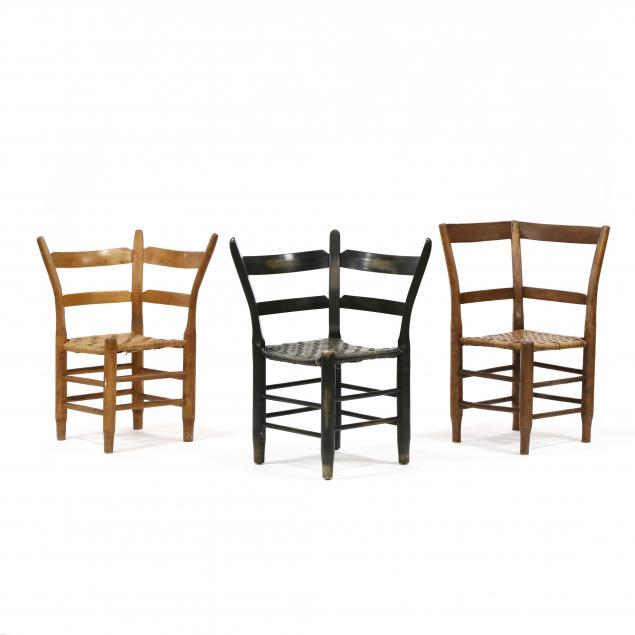 three-southern-primitive-corner-chairs