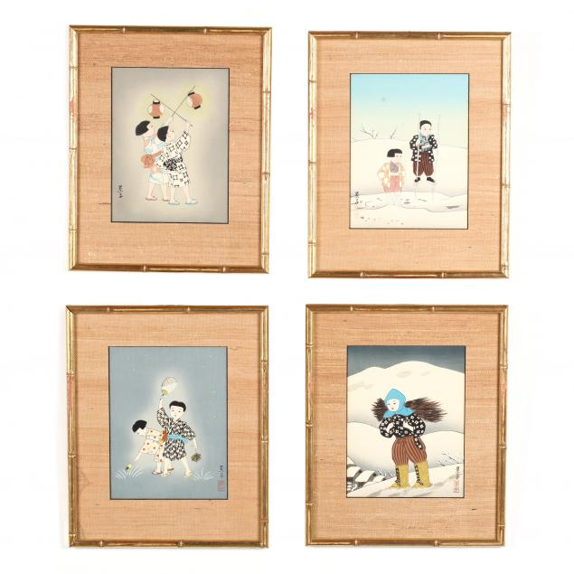 yurimoto-keiko-japanese-20th-century-four-woodblock-prints