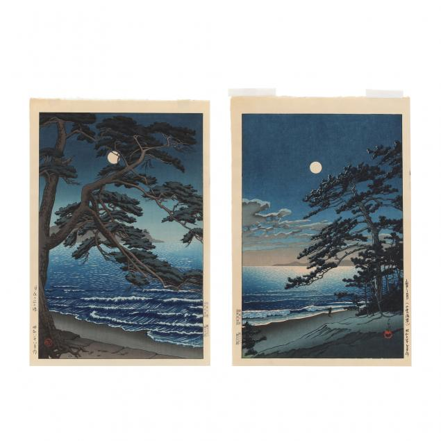 two-japanese-woodblock-prints-by-hasui-kawase-and-ishiwata-koitsu