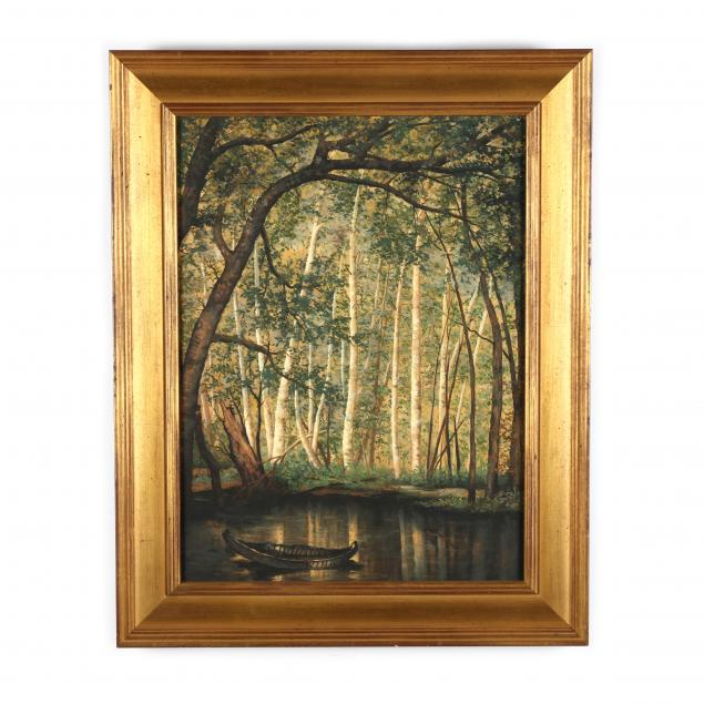 a-contemporary-painting-of-a-canoe-in-a-forest-glen