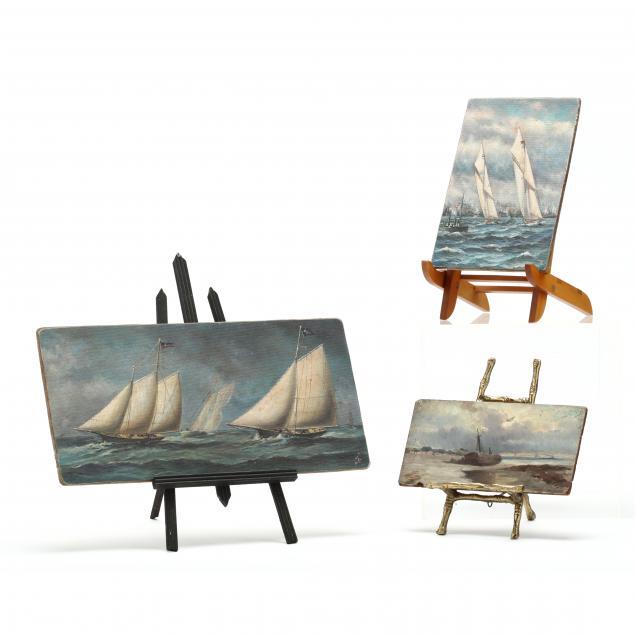 three-miniature-nautical-paintings