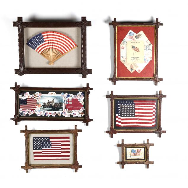 six-black-forest-picture-frames-of-american-patriotic-ephemera