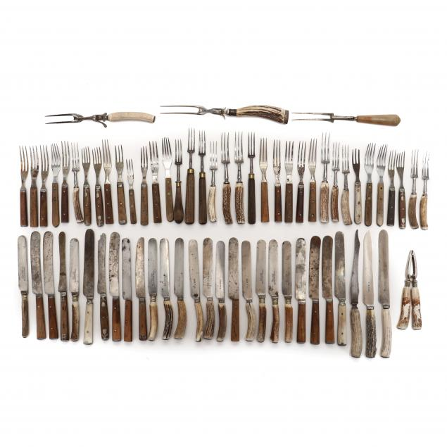 assortment-of-dining-utensils-with-bone-antler-and-wooden-handles