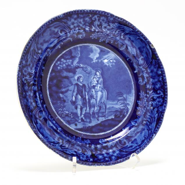 blue-transferware-plate-flight-into-egypt