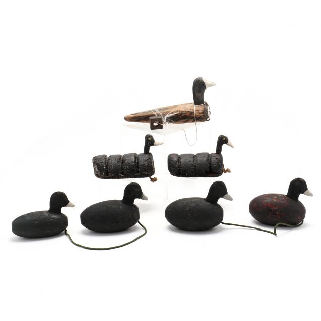 a-group-of-seven-knott-s-island-floater-and-coot-decoys
