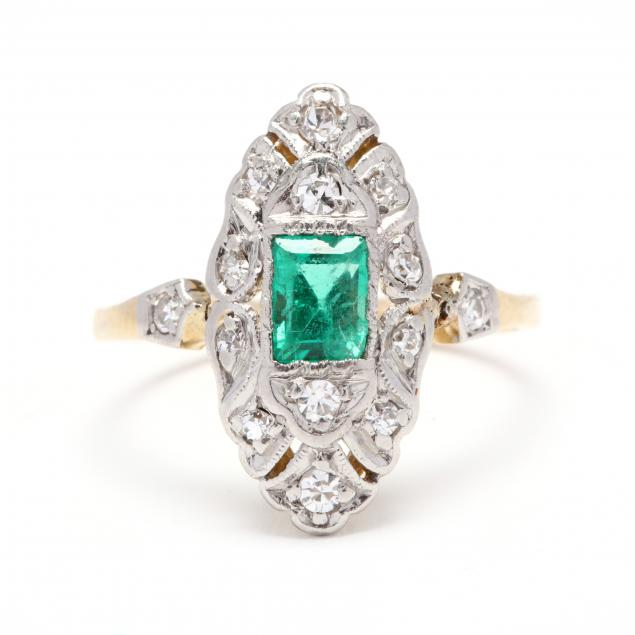 antique-platinum-topped-gold-emerald-and-diamond-navette-ring