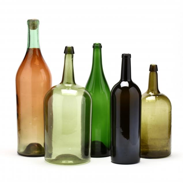 five-large-green-glass-wine-bottles