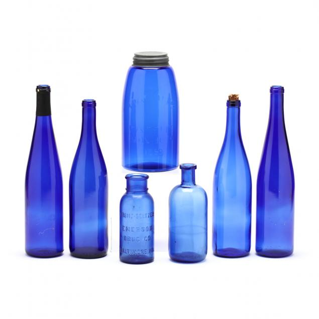group-of-seven-cobalt-glass-containers