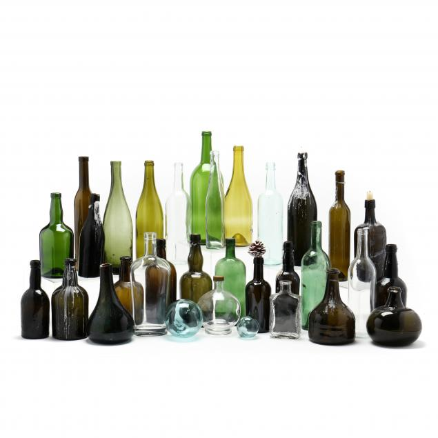 lot-of-30-glass-bottles-and-two-blown-glass-balls