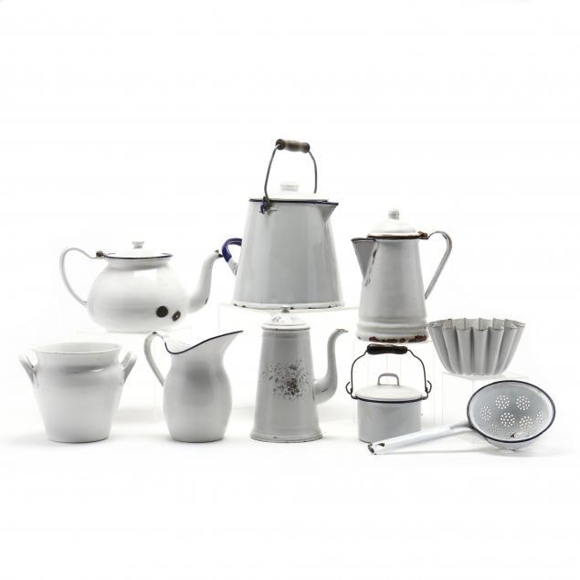 nine-white-enamel-ware-items