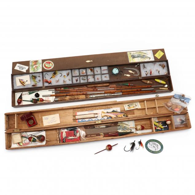 two-vintage-fly-rod-boxes-containing-fishing-collection
