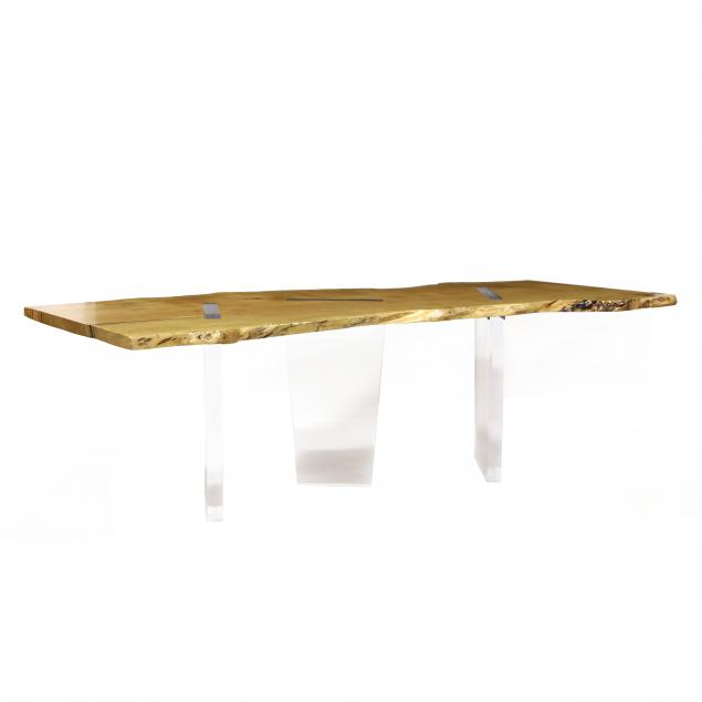 john-houshmand-ca-ny-b-1954-live-edge-maple-and-lucite-dining-table