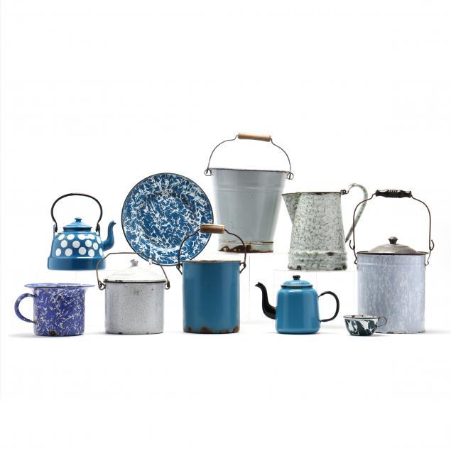 group-of-graniteware-ten-items