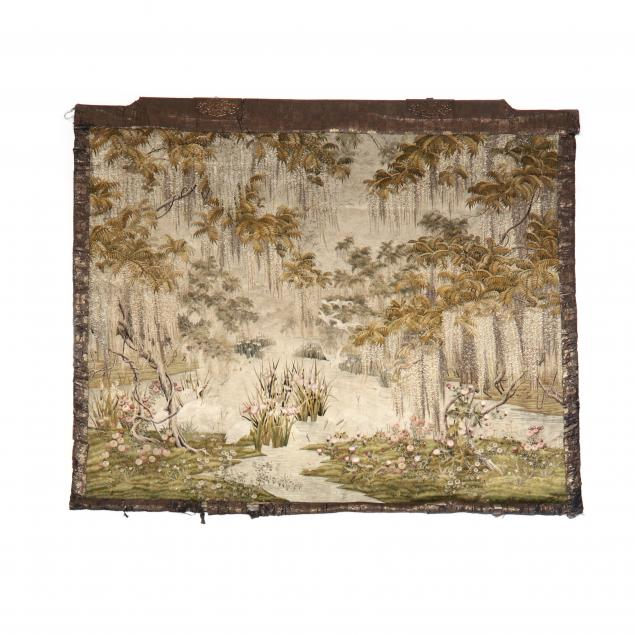 a-japanese-meiji-period-silk-embroidered-wall-hanging