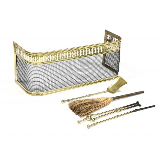 pierced-brass-wire-work-fire-fender-with-tools