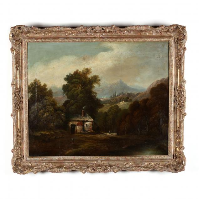 continental-school-19th-century-landscape-with-cottage-and-figures