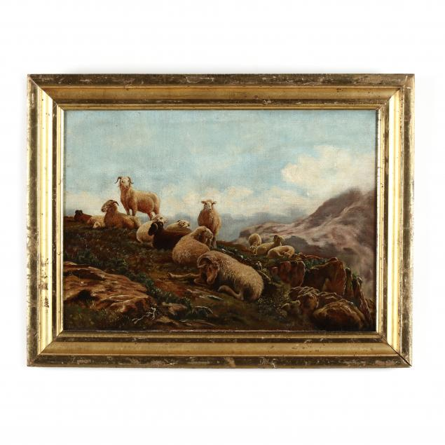 continental-school-late-19th-century-a-flock-of-sheep-in-a-rocky-landscape