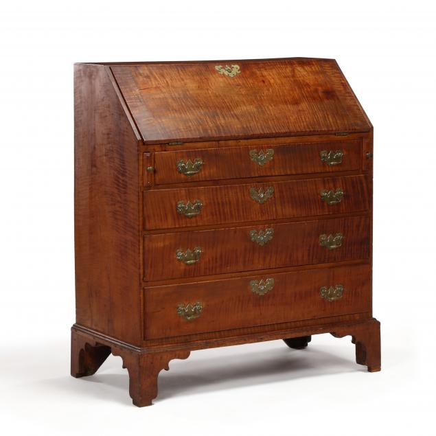 new-england-chippendale-slant-front-tiger-maple-desk