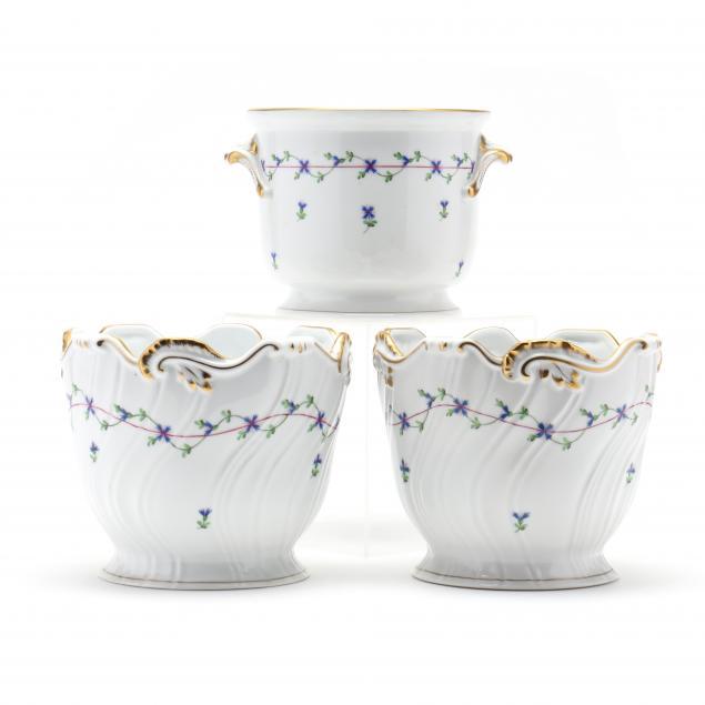 three-herend-blue-garland-porcelain-cachepots