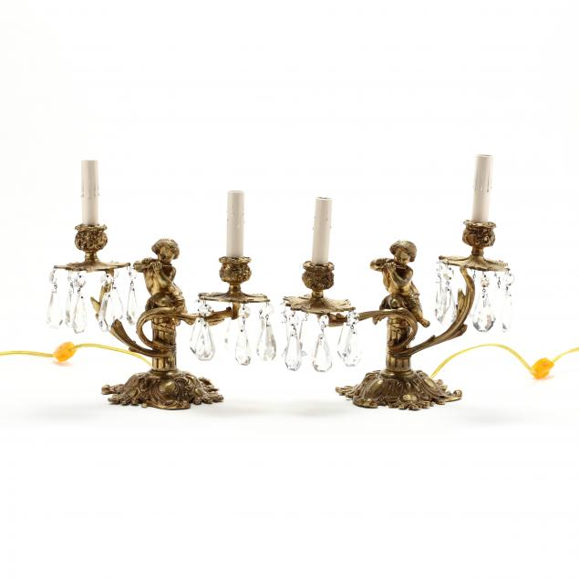pair-of-french-rococo-style-gilt-metal-drop-prism-figural-lamps