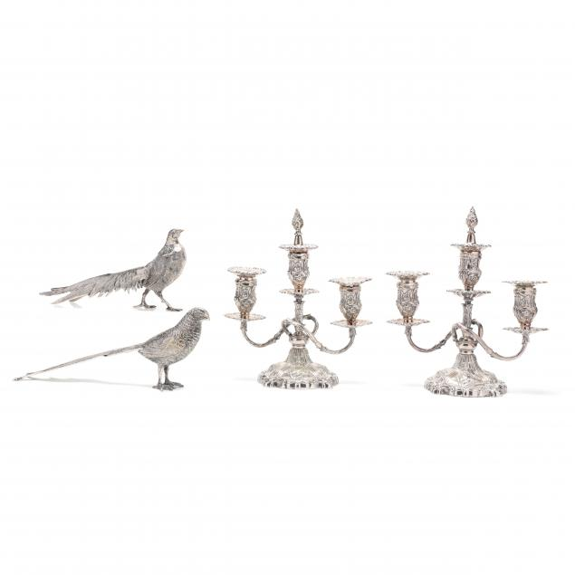 a-pair-of-silverplate-candelabra-with-table-pheasants