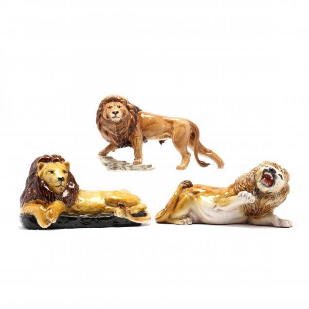 three-differing-ceramic-lions