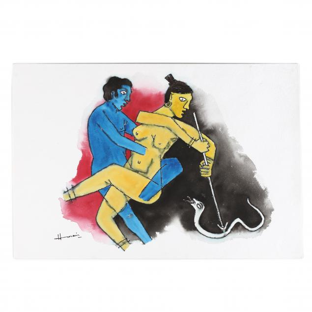 m-f-husain-indian-1915-2011-blue-man-and-yellow-lady-with-snake