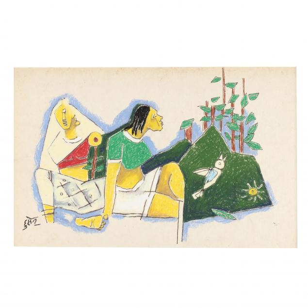 m-f-husain-indian-1915-2011-lady-with-green-blouse