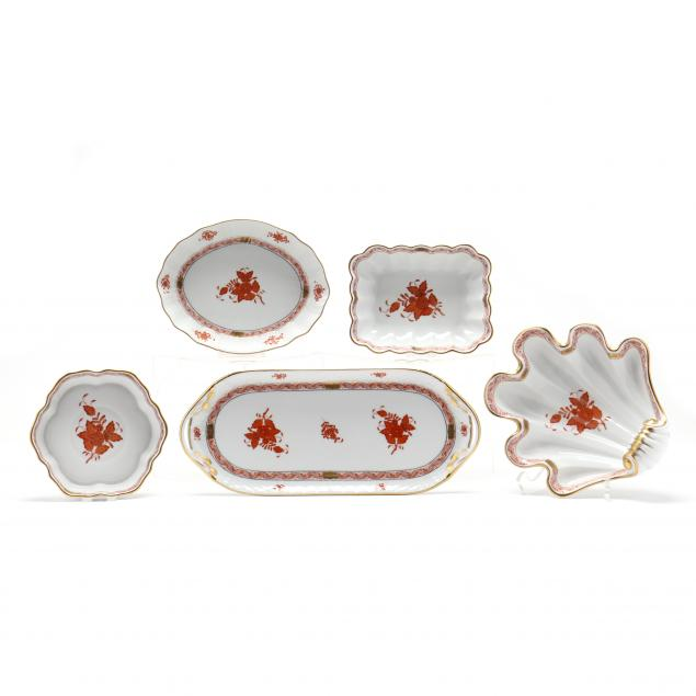 five-herend-porcelain-accessory-dishes-chinese-bouquet-rust