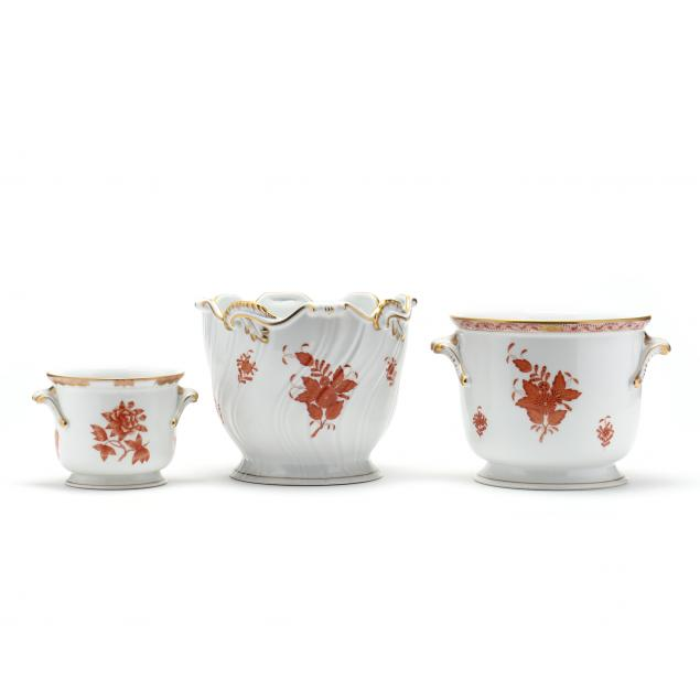 three-herend-chinese-bouquet-rust-porcelain-cachepots