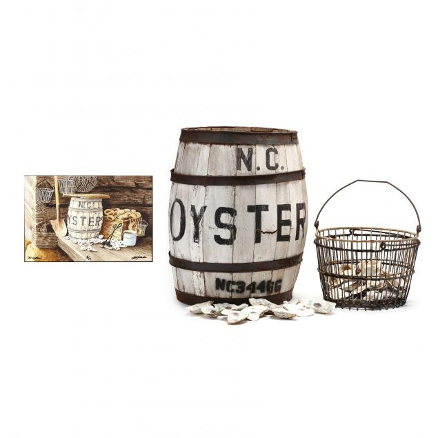 bob-timberlake-nc-born-1937-i-nc-oysters-i-with-the-featured-oyster-barrel-and-baskets