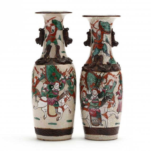a-matched-pair-of-chinese-crackle-vases-with-warriors