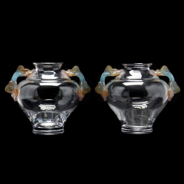 daum-pair-of-double-handled-glass-vases