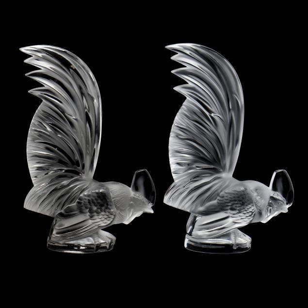 lalique-pair-of-i-coq-nain-i-glass-car-mascots