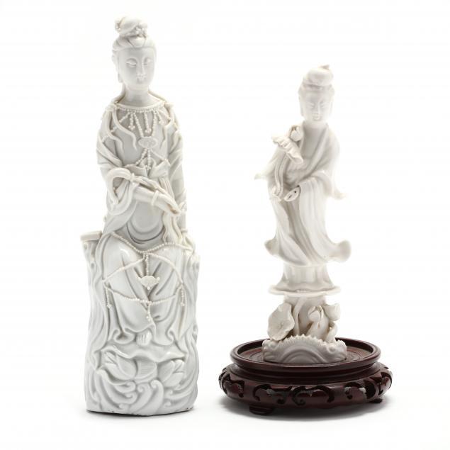 two-chinese-porcelain-blanc-de-chine-bodhisattva-figures